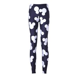 Wholesale NEW Arrival Sexy Girl Women Black Cartoon Mouse Mickey head Gloves D Prints Running Elastic GYM Fitness Sport Leggings Yoga Pants