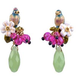 Wholesale Les Nereides - Free Shipping Les Nereides Romantic Enamel Bird and Flower Rhinestone Earrrings Stud Earrings