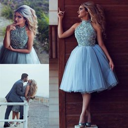 Wholesale Halter Knee Length Homecoming Dresses - Sky Blue Luxury Crystal Detail Short Homecoming Party Dresses 2018 High Neck Puffy Tulle Lovely Knee length Prom Occasion Dress