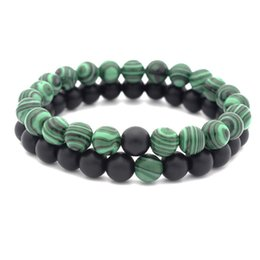 Wholesale Couple Chain Sets - European women and men's malachite natural stone beaded bracelets hot sale couples strands bracelets jewelry accessories