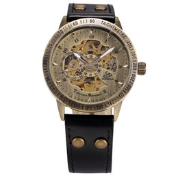 Wholesale Shenhua Watches - atches Mechanical Wristwatches SHENHUA Vintage Bronze Men Wristwatches Skeleton Male Clock Leather Strap Steampunk Casual Watches Automat...