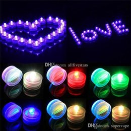 Wholesale Led Tealight Candles Submersible Decorations - Colorful Waterproof LED Submersible Candles Tealight Lamp Fish Tank Vase Decor Lighting For Wedding Birthday Party Bar Decoration DHL USA