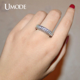 Wholesale Eternity Band Gold Diamond - UMODE White Gold Plated Antique Eternity Rings For Women Wedding Band Famous Brand Luxury Jewelry With CZ Diamond AUR0280