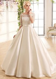 Wholesale Cheap Ivory Wedding Belts - Modest A-Line Lace Wedding Dresses With Scoop Neck Covered Button Back Half Sleeves Wedding Gowns With Belt Cheap Garden Wedding Dress