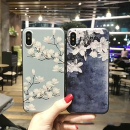 Wholesale red magnolia - For iphone8 tpu soft cell phone shell roses and Magnolia flower phone 6 plus 7 Cover the back cover of the phone