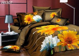 Wholesale Sunflower 3d Bedding Sets - High Definition digital 3D bedding sets brown 3d comforter cover bedsheet pillowcases sunflower 3d oil painting bed linens 5307