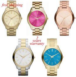 Wholesale Ladies Runway - free shipping New Ladies' Pavé-Embellished Gold-Tone Ultra-Slim Runway Designer Watch