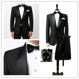Wholesale Classic Suit Wear - 2016 Latest Designs (Coat+Pants+Tie) RXF01Customize Groom Smoking Casamento Mens Black Formal Wear Wedding Tuxedo DHL Free Shipping