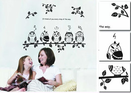 Wholesale Decorative Wall Painting For Kids - Owl Animal Cartoon children's room bedroom wall painted decorative stickers Wall Stickers Decal Decor for Kids