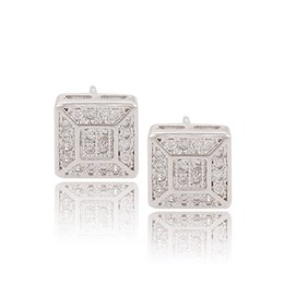 Wholesale Ear Studs Imitation For Women - Xuping Brand Women Fashion Rhodium Colour Stud Ear Quality Zirconia Cube Earrings Copper Jewelry Earrings for Gifts From DH-13-9042413