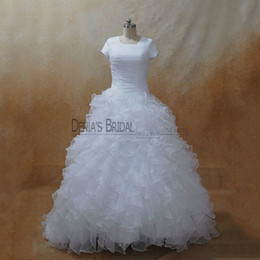 Wholesale Wedding Dresses Square Neckline - 2017 Modest Ball Gown Wedding Dresses with Square Neckline Short Sleeves Ruffled Tiered Sweep Train Organza Pleats Real Images Bridal Gowns