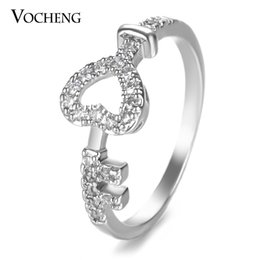 Wholesale Brass Heart Keys - VOCHENG Heart Key Engagement Ring Filled CZ Stone 2 Sizes Gold Platinum Plated Copper Metal Women Jewelry VR-148
