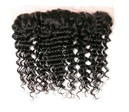 Wholesale Indian Jerry Curl Hair Extension - Kadoyee 13x4 Lace Closures Loose Deep Wave Jerry Curl 8A Brazilian Human Virgin Hair Extension Peruvian Malaysian Indian Hair Closures