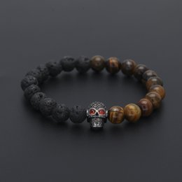 Wholesale Traditional Tiger - Tiger Eye Stone Volcanic Stone Double Beads Halloween Skull Bracelet Slightly Inlaid Zircon Men and Women Halloween Skull Bracelet