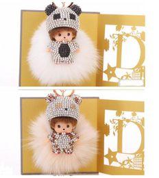 Wholesale Real Fur Handbags - KIKI fur ball pompom plated keychain crystal Monchichi Key Chain Real rabbit Fur Pom pom Women Handbag car charm Pendant