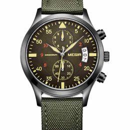 Wholesale Discount Waterproof Watches - 2017 MEGIR Mens Quartz Watches Summer Outdoor Sports Multifunct Discount Analog-Digital Chronograph Round Leather Waterproof Wristwatches
