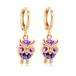 Wholesale Owls For Earrings - 18K Yellow Gold Plated AAA+ Cubic Zirconia CZ Cute Owl Hoop Earrings Fashion Jewelry for Party