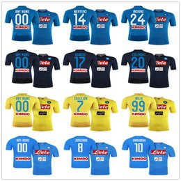 Wholesale Cheap Yellow Shirts - Cheap Napoli Football Jersey Hamsik Insigne Mertens Milik Jorginho Callejon Ounas Maradona Zielinski Home Away Naples Custom Soccer Shirt