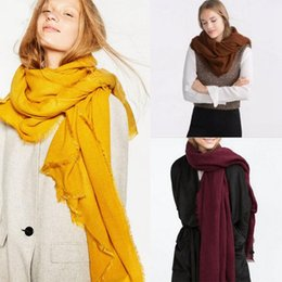 Wholesale Muffler Scarf Solid - Women Solid Tassel Scarves 200*100cm Wrap Scarves Winter Cashmere Neckchief Neck Circle Muffler 12 Styles OOA3315