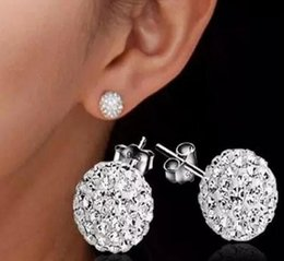 Wholesale Disco Ball 925 - plating 925 Sterling Silver 6mm 8mm 10mm 12mm CZ Crystal disco ball shamballa Stud Earrings mark 925 New Fashion Jewelry 48pairs lot