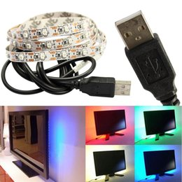 Wholesale Flexible Cable Wire - New 5V DC led strips 1m 2m 3m 4m 5m SMD3528 300LEDs Flexible LED Strip usb Cable For Car Computer Tent Lighting