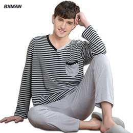 Wholesale Best Shirts For Men Brands - Wholesale-BXMAN Brand Men's Pijamas Hombre Casual Pyjamas Men Polyester Striped V-Neck Full Sleeve Men Pajamas Sets Best for Couples 207