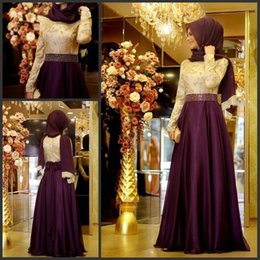Wholesale sheer top prom dress - Muslim Evening Dress With Long Sleeves Shiny Beading Waist Top Lace A-line Chiffon Burgundy Arabic Long Hijab Evening Dresses for Party