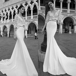 Wholesale Inbal Dror Wedding - 2017 Inbal Dror Two Pieces Wedding Dresses Mermaid V Neck Vintage Lace Long Sleeves Backless Wedding Gowns Satin Plus Size Bridal Gowns