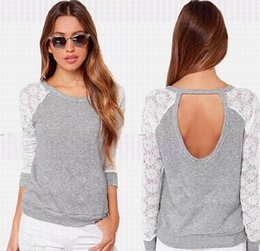 Wholesale Laced Backless Blouse - 2016 Lace with Long Chiffon Blouse Sleeves Sexy Spring Summer Grey Crochet Jewel Backless Women Clothes Top Blouse Shirts free shipping