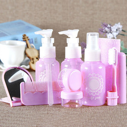 Wholesale Shampoo Sets - 10pcs Empty Portable MakeUp Spray Bottle Lotion Shampoo Cream Container Travel Refillable Bottles Set Kits with Pouch