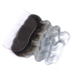 Argentina 1b Frontals del cordón del pelo gris de la onda Ombre Cierre frontal del cordón del pelo brasileño 13x4 100% No pelo humano de Remy Suministro