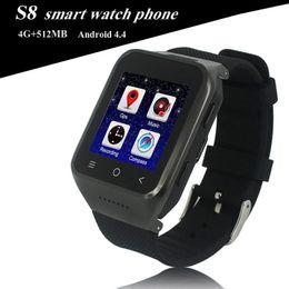 "Relógio inteligente dual core on-line-ZGPAX S8 Relógio Inteligente 1.54 ""Android 4.4 MTK6572 Dual Core Relógio de Telefone 3G Smartwatch Com GPS Wifi 2.0 M Câmera OTH292"