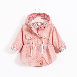 graffiti coating Promo Codes - 2016 Autumn New Girl Coat Polka Dot Owl Graffiti Fashion Coat With Cap Children Clothes 301008