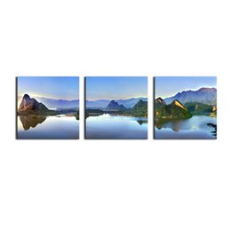 Wholesale Mountain Wall Painting - 3 Pieces Modern Canvas Painting Wall Art The Picture For Home Decoration Mountain Lake Beauty World Landscape On Canvas For Wall Decor