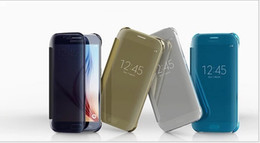 Wholesale Wholesale Cell Phone Smart Covers - Smart Mirroe Clear View Cases Covers for Samsung Galaxy S6 S6 Edge Cell Phone Cases Covers PC Transparent Mobile Phone Cases Covers