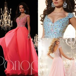 Wholesale Long Sleeve Prom Dreses - Beaded Long Chiffon Prom Dreses Sexy V Neck Cap Sleeves Crystals Sequins A Line Watermelon Sky Blue Pink Women Formal Evening Pageant Gowns