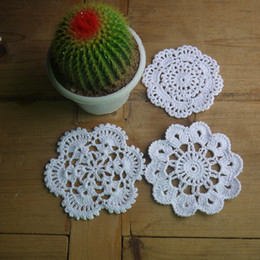 Wholesale Make Table Mats - Wholesale- Free Shipping cotton hand made crochet doily table cloth , 3 designs 9 colors custom , cup mat round 10-11cm crochet applique
