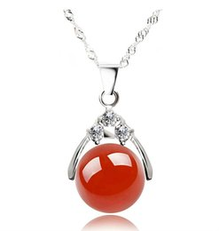 Wholesale silver bead necklace 12mm - Necklaces Pendant for Women Pendants with 12mm Agate Bead Stone 925 Sterling Silver Plated Long Chain Pendant Necklace