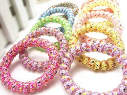 Wholesale Bold Accessories - Increase in bold print sinews candy Colored Telephone Line Hair rope Elastic Ties Spring Rubber Band Accessory Maker Tools Mix Color