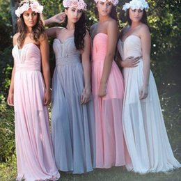 Wholesale Wholesale Chiffon Wedding Dress Gowns - Sexy Long Cheap Bridesmaid Dresses for Wedding Party Floor Length Chiffon Pleated Beautiful Prom Gowns for Girls