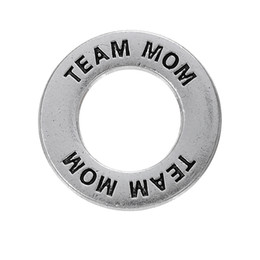Wholesale Moms Rings - 50pcs a lot Zinc Alloy Floating Silver Plated Team Mom Message Ring Pendant Charms For Gift DIY Jewelry Findings & Component