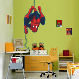 Wholesale spiderman for kids - Spiderman Cartoon Wall Sticker PVC Self-adhesive Movie Wall Decal for Kids Room and Living Room Home Decoration