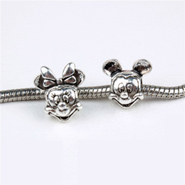 Wholesale Plated Food - Alloy Charm Bead Micky Minie Big Hole Fashion Charms Jewelry Findings And Components For Pandox Bracelet