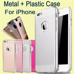 Iphone aluminium skin en Ligne-Pour Iphone Motomo Hybrid Case Brossé Aluminium Métal Aluminium + Couverture de peau en plastique Double Couche Pour Iphone 6 Plus, Samsung S6 DHL Libre SCA141