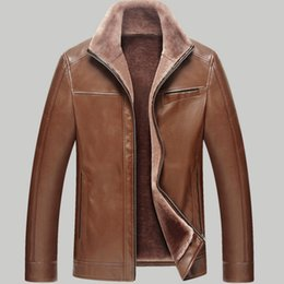2019 chaqueta negra de avirex Chaqueta de cuero de piel de imitación de Fall-Thick Hombres 2016 Chaquetas de cuero de invierno y abrigos Chaqueta de piel masculina de moda Casaco Masculino Couro