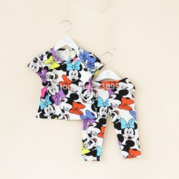 Wholesale sleep wear girls - Wholesale- The new 2016 children casual girl summer short shirt + pants set pajamas boys girls clothes children clothing sleeping wear