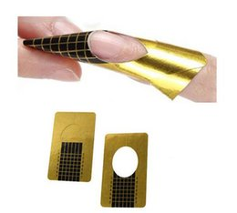 Wholesale Nail Sticker Uv - 500pcs set Golden Nail Art Sculpting Extension Forms Guide Sticker Acrylic UV Gel Tips Manicure Tool Free Shipping