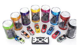 Wholesale Racing Gifts - 2017 new style Creative Coke Can Remote Control Mini Speed RC Micro Racing Car Vehicles Gift For Kids Xmas Gift Radio Contro Vehicles 1:64