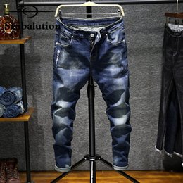 Wholesale Vintage Street Lights - Sisibalution Jeans Men 2017 New Fashion Style High Street Slim Fit Personality Vintage Classical Male Denim Pants Trouser
