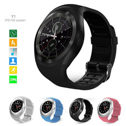 Wholesale Mp3 Watch Phone - Y1 Bluetooth Smart Watches Round Face 2G GSM SIM App Sync Mp3 for Android IOS Intelligent Mobile Phone Smartwatch High Quality